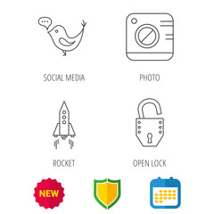 Photo, social media and rocket icons. Open lock linear sign. Shield protection, calendar and new tag web icons. Vector