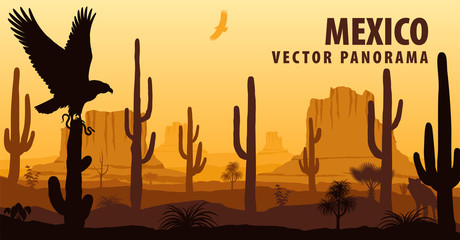 vector panorama of Mexico with eagle in desert