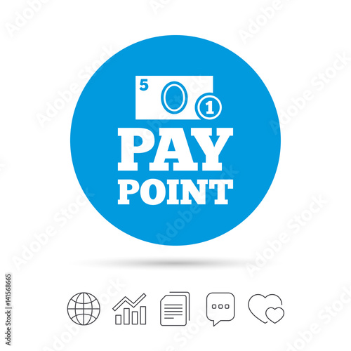Cash and coin sign icon  Pay point symbol