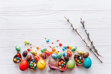 Easter concept. chocolate eggs  on a white background