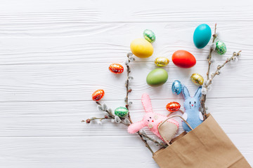 easter ,colored eggs  in paper bag