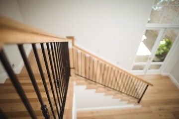 Interior view of wooden floor and staircase