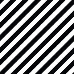 Diagonal lines seamless black and white pattern. Repeat straight monochrome stripes texture. Geometric vector background