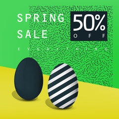 Spring sale poster. Sale badge. Advertising card template.
