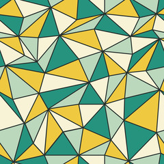 Geometric seamless pattern in retro style. Vintage background. Low poly seamless repeat pattern. Triangular facets. Vector pattern.