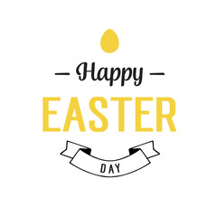 Happy Easter Day Lettering, Egg and Ribbon
