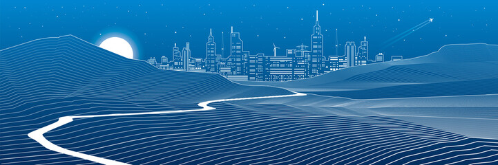 Road in the mountains, rock landscape, night city on background, white lines on blue background, vector design art