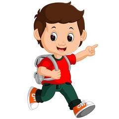 Boy with backpacks cartoon