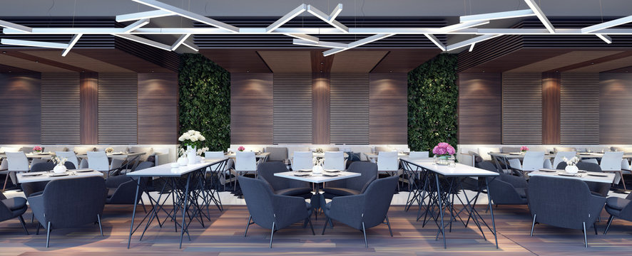 Modern concept design of restaurant lounge 3D Render