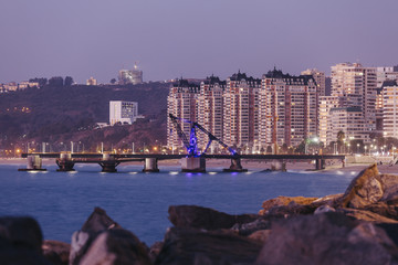 Muelle Vergara in Vina del Mar at night, Chile