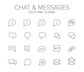Chat and Messages Line Icon Set