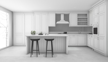 3d rendering white classic kitchen