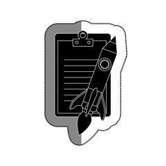 clipboard with rocket pencil isolated icon