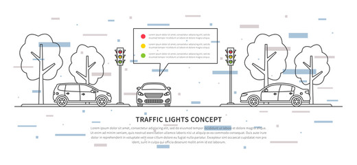 Traffic lights vector illustration with decorative elements. Street semaphores with cars creative line art concept. Electric stoplights (traffic lamps) graphic design.