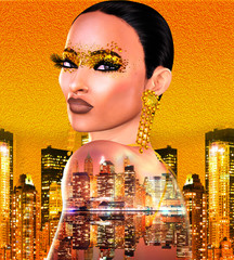 Cityscape with close up of beautiful woman's face and golden foil cosmetics with matching gold background. 3d render art.