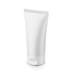 White glossy plastic tube for cosmetics