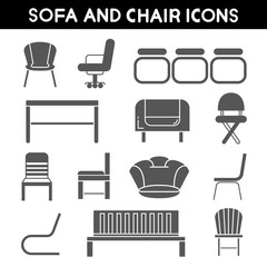 sofa and chair icons, furniture icons