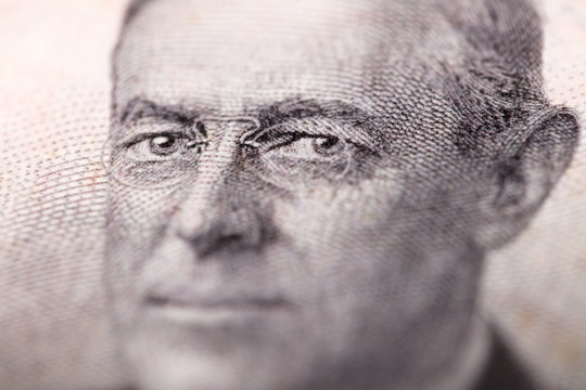 Woodrow Wilson eyes close up on money