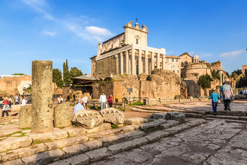 Rome, Italy. Temple of Antoninus and Faustina, 141 AD (from the 11th century the Church of St. Lawrence) and the Temple of Romulus, 307 AD