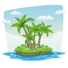 Illustration of some tree palms on a island