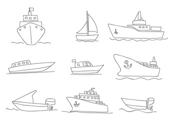 ships and boats thin line icons hand drawn vector set art illustration