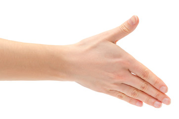 hand of young girl shows handshake.