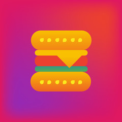 Vector icon or illustration showing hamburger in brutalism style