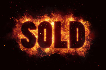 sold price deal text on fire flames explosion burning
