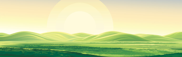 Summer rural landscape, dawn above hills, elongated format.