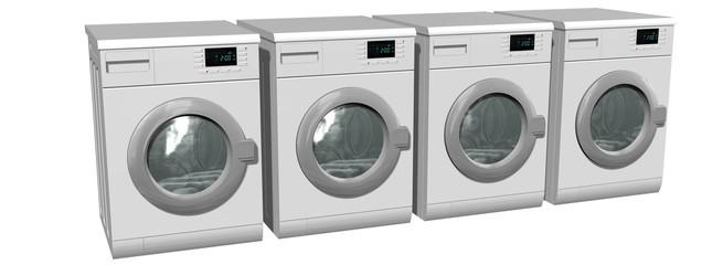 Washing machines, Fully automatic washing machines - isolated on white
