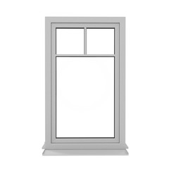 One door plastic window isolated on white. 3D illustration