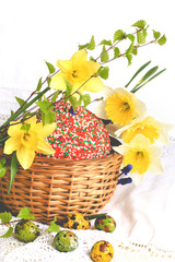 Easter cake painted eggs daffodils spring composition rustic retro style
