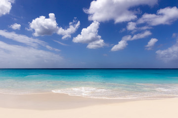 Turquoise water and white sand  of caribbean sea