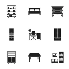 Set Of 9 Editable Home Icons. Includes Symbols Such As Office, Commode, Locker And More. Can Be Used For Web, Mobile, UI And Infographic Design.