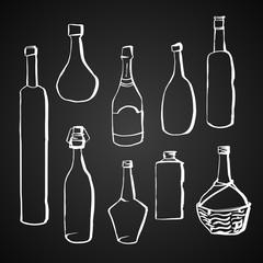 Hand drawn contour style bottles set.