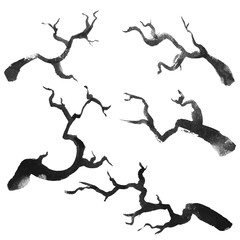Ink hand drawn style isolated silhouettes of branches set.