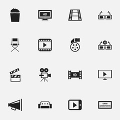 Set Of 16 Editable Cinema Icons. Includes Symbols Such As Couch, Clapper, Record Cam And More. Can Be Used For Web, Mobile, UI And Infographic Design.