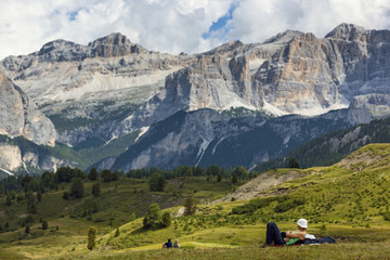Relax during a hiking in Pralongiá, Badia Valley, Dolomites, Italy,
