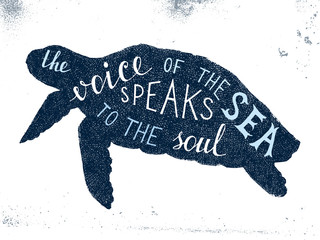 The voice of the sea speaks to the soul lettering