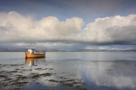 Ireland, Westport , Clue bay, yellow fishing boat