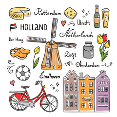 Netherlands and Holland hand drawn icons and symbols