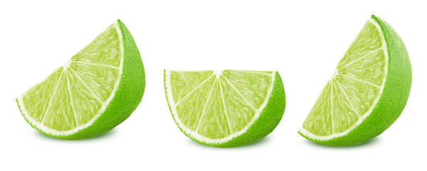 Lime slices set isolated on white background