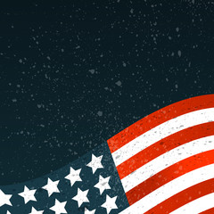 Banner with American flag and abstract texture. Template for the design of your project. Vector illustration.