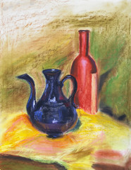 texture pastel drawing, still life painting texture painting colorful