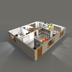 3d rendering of illuminated furnished home apartment