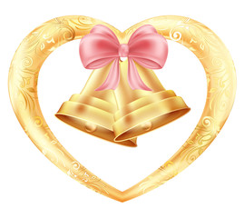 Wedding bells with hearts and a pink bow in a gold frame with a floral oriental ornament. Illustration of white background