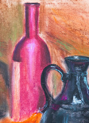 texture pastel drawing, still life painting texture painting