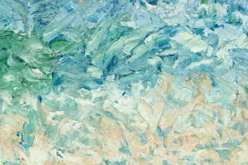 Summer abstract oil paint background. Sky, sea,beach. Palette knife paint texture.