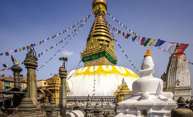 Stupa Swayambhunath with prayer flags, Kathmandu Valley, Nepal