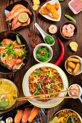 Asian food table with various kind of chinese food